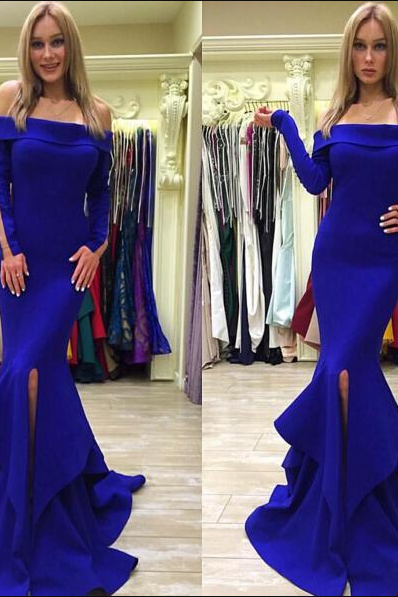 Ulass Royal Blue Long Sleeve Prom Dress,Charming Prom Dresses, Long Prom Dresses,Prom Gowns, Formal Prom Dress