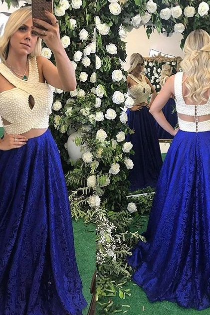 Ulass Sexy Sleeveless Halter Prom Dress with Pearls,Royal Blue Lace Prom Dress,Elegant Evening Dresses