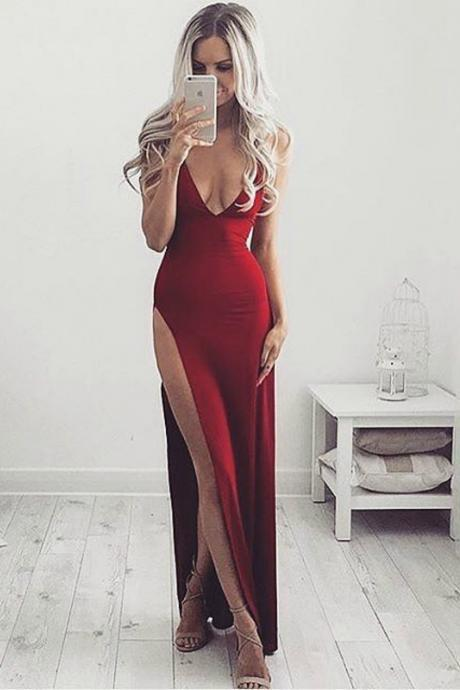 Ulass Eye-catching Formal Gown, Cheap Prom Dresses 2017 Wine Red Evening Dress,Sexy Slit Prom Dress,Sheath Party Dress,Open Back Wine Red Graduation Dress,Prom Gown,Party Dress