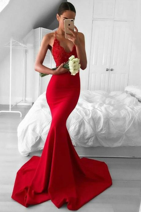 Ulass Charming Party Dress,Lace Prom Dress,Sexy Lace V-Neck Long Red Mermaid Prom Dress, Chiffon Backless Long Prom Dresses, Evening Gowns ,Party Dress