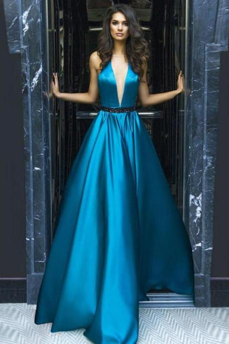 Ulass A-line Satin Prom Dress V-Neck Evening Dress Party Dresses Graduation Dress Sexy Prom Gowns