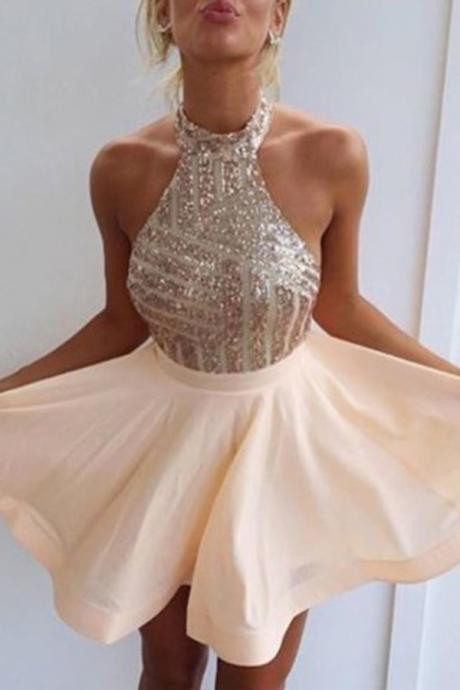 Ulass Fancy Halter Homecoming Dresses, Open Back Homecoming Dresses,Short Homecoming Dress,Short Prom Dress with Beading,Mini Party Dresses