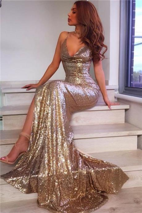 Ulass Prom Dresses, Fashion Sexy V-Neck Split Side Long Mermaid Evening Dresses 2018