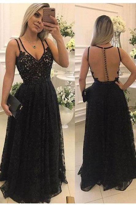 Ulass Sexy Lace Prom Dress, Vestido de Madrinha, Backless Sheer Prom Dresses, Black Lace Prom Dress, Black Evening Dress, Lace formal Dresses, Woman Gowns