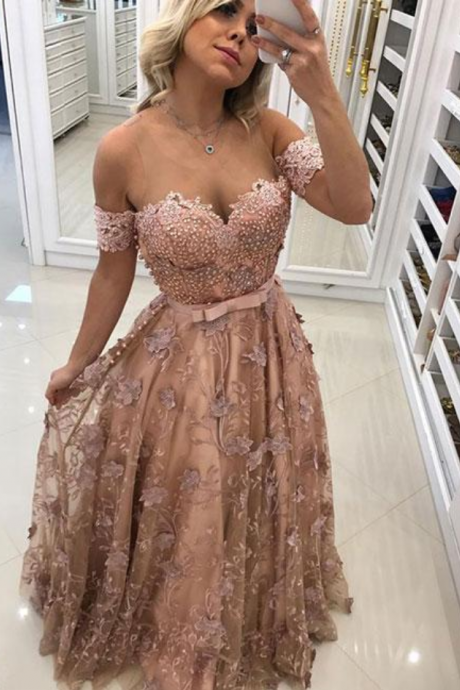 Stylish Tulle Lace Long Prom Dress, Formal Dress Prom Dress,Long Prom Dresses,Formal Evening Dress