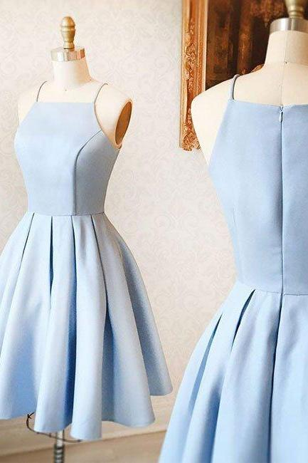Ulass Cute A-Line Halter Light Blue Short Homecoming/Prom Dress