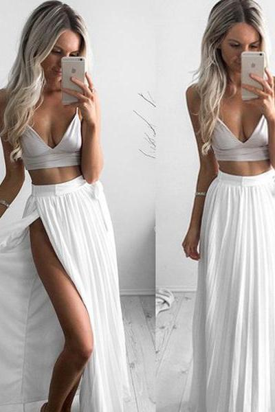 Simple Two Piece A-Line Spaghetti Straps Split Front White Long Prom Dress