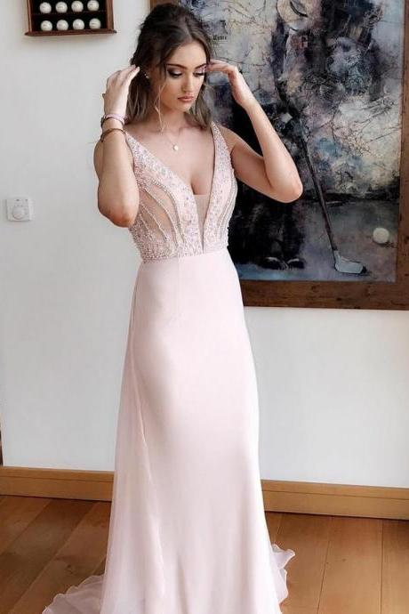 Gorgeous A-Line Prom Dresses V-Neck Sweep Train Evening Dress Pearl Pink Graduation Dress Chiffon Prom Dress with Beading