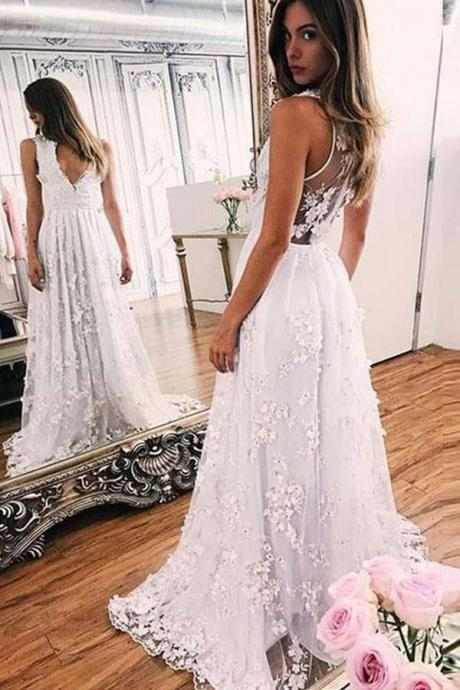2018 Sweep-train A-line White Lace V-neck Prom Dress Evening Dress