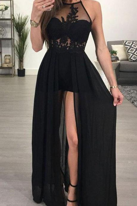 Sexy Backless Halter Black Lace Evening Prom Dress, Popular Sexy Party Prom Dresses, Custom Long Prom Dresses