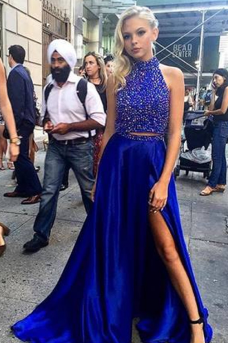 Two Piece Prom Dresses ,Beading Royal Blue Prom Dresses Long,Side Slit Sexy Party Dresses,Dresses for Graduation