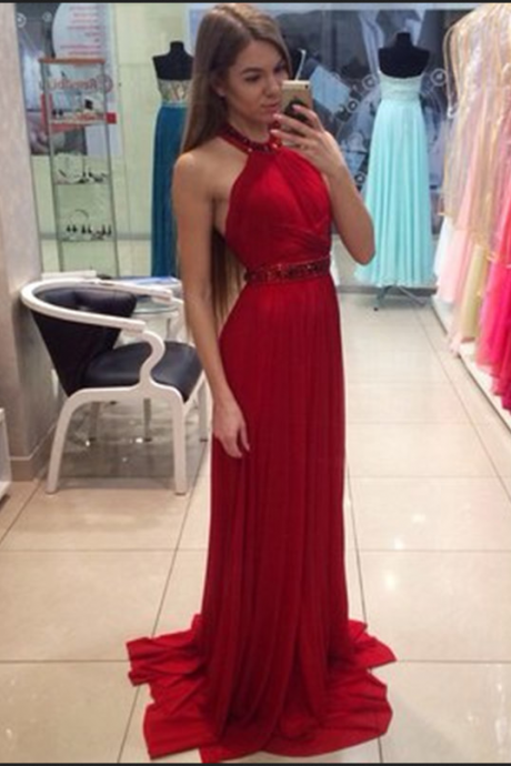 Halter Neck Crystal Red Prom Dresses,Backless Sexy Long Prom Dresses,Red Party Dresses,New Evening Party Dresses
