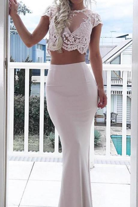 elegant two piece ivory prom dress with lace, bodycon ivory mermaid party dress with lace