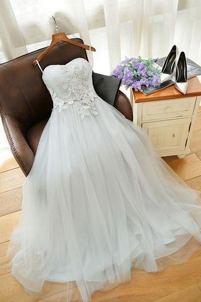 Gray Sweetheart Applique Long Prom Dress,Tulle Evening Dress