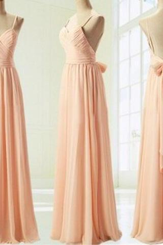 Light Pink Straps Simple Prom Dress with Bow, Simple Prom Dresses 2018, Formal Dresses, Evening Dresses