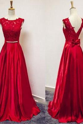 Red Lace and Satin V Back Long Prom Dresses, Red Formal Gowns, Evening Dresses 2018