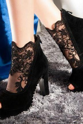 Ulass Sexy Black Lace High Heels, High Heels, Lace Shoes, Woman Shoes