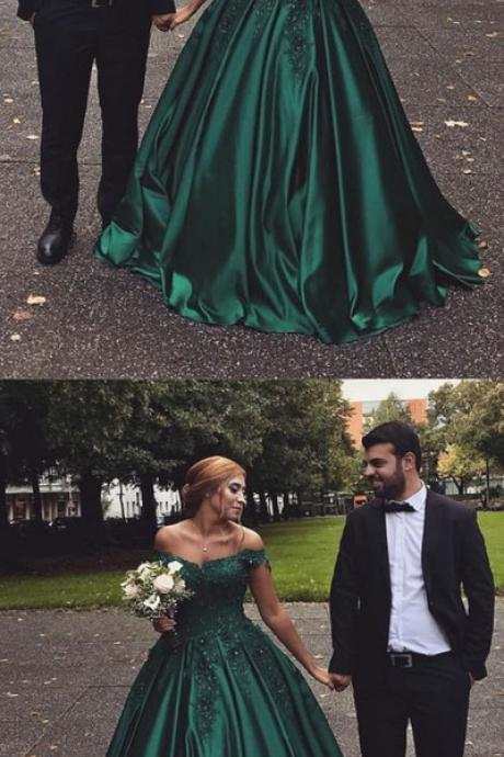 Hunter Green Satin Prom Dress, Ball Gowns Prom Dress, Long Off The Shoulder Party Dress