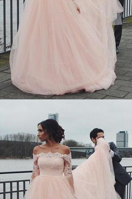 Custom Made Pink Off Shoulder Neckline Tulle Evening Dress, Prom Dress with Lace Applique