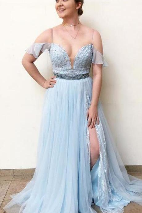 light sky blue prom dress,elegant straps prom dress,cheap prom dress,lace prom dress,long prom dress with side slit, 2018 prom dress party dress
