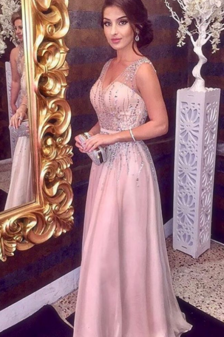 Sparkly Beading Prom Dress, V neck A Line Prom Dress, Sleeveless Long Formal Party Dress