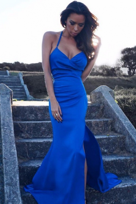 Sexy Elegant Prom Dresses, New Royal Blue Prom Dress V Neck with Spaghetti Strap Side Split Sexy Long Mermaid Prom Party Gown Women Dress