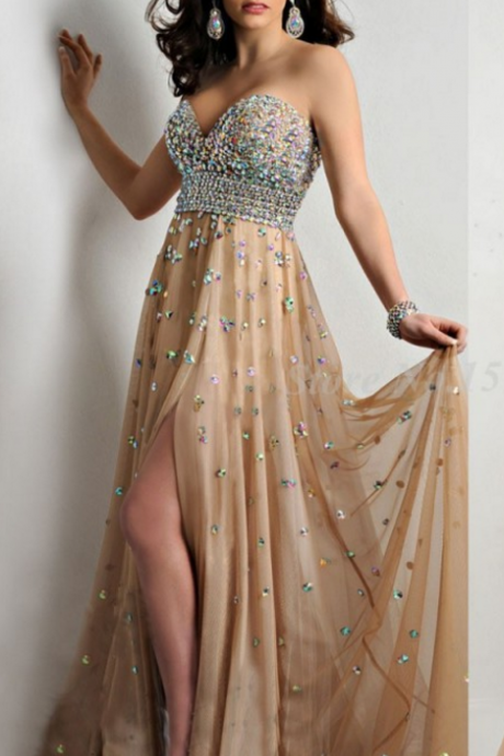 Sweetheart Women Dress Beading Long Prom Dresses Chiffon Evening Party Gown