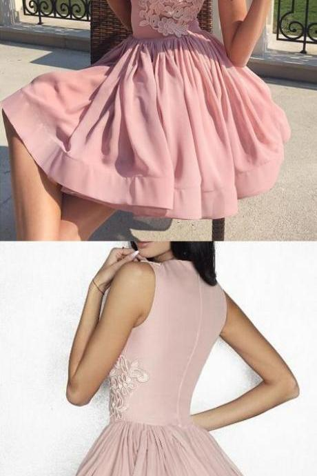 A-line homecoming dresses,short homecoming dress,pink homecoming dress, with applique,homecoming 2017