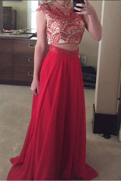 Red Two Pieces Prom Dress,Chiffon Prom Dress,Long Prom Dresses