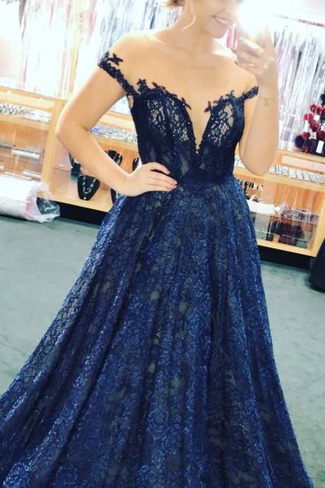Appliques Lace Evening Dress, Sexy Blue Long Prom Dress, Formal Prom Dresses