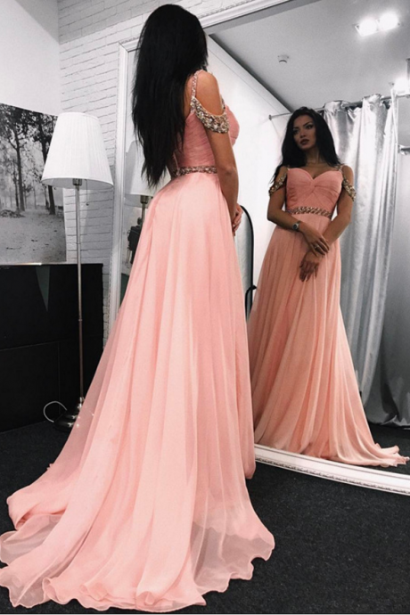 Charming Deep V-Neck Beaded Ball Gown Backless Prom Dress,Long Evening Dress,Long Prom Dresses,Prom Dresses