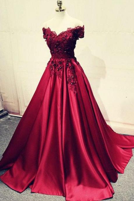Burgundy Lace Off Shoulder Satin Prom Dress,Lace Beaded Long Evening Dress,2018 Formal Prom Gowns