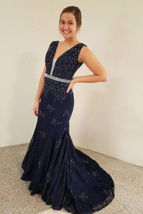 Navy Blue Lace Beaded Mermaid Prom Dress,V-Neck Formal Evening Dress