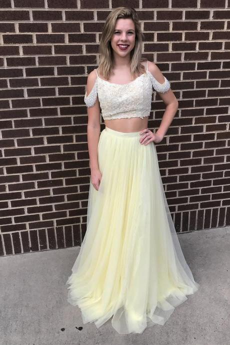 Princess A-Line Two Piece Yellow Prom Dress,Lace Beaded Party Dress