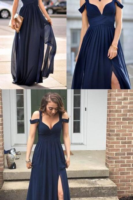 SIMPLE DARK BLUE CHIFFON LONG PROM DRESS, DARK BLUE EVENING DRESS