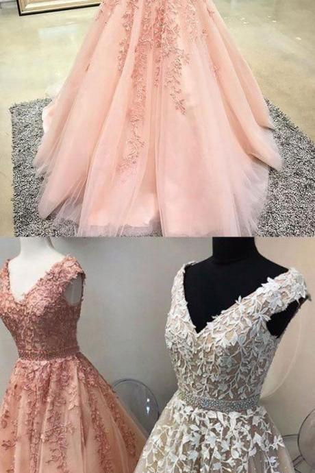 Custom made ,v neck, lace tulle, long prom dress, evening dress,floor length ,new fashion