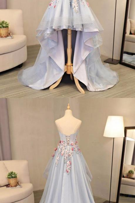 Sky Blue Tulle Strapless High Low Flower Appliques Homecoming Dress, Party Dress