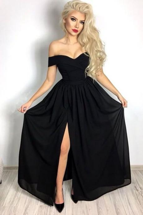 Black Chiffon Prom Dresses Long A-line Evening Dresses Off the Shoulder Formal Pageant Gowns Sexy Cheap Party Graduation Dresses with Slit