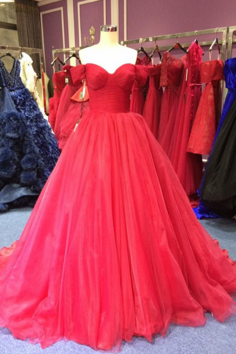 red super a-line luxury long tulle Prom Gown,off the shoulder Prom Dresses,v-neck Evening Gowns,Formal Dresses