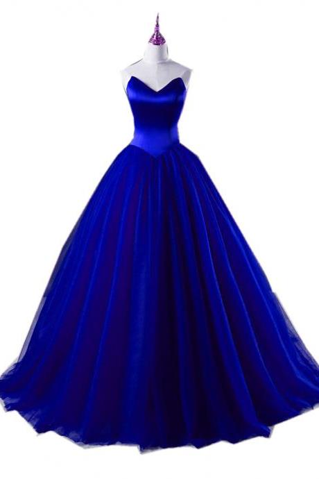 Royal Blue Sweetheart Floor Length Tulle Ball Gown, Prom Gown, Formal Gown