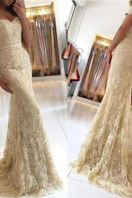 Off Shoulder Gold Lace Mermaid Evening Prom Dresses, Fashion Party Prom Dresses, Custom Long Prom Dresses, Cheap Formal Prom Dresses