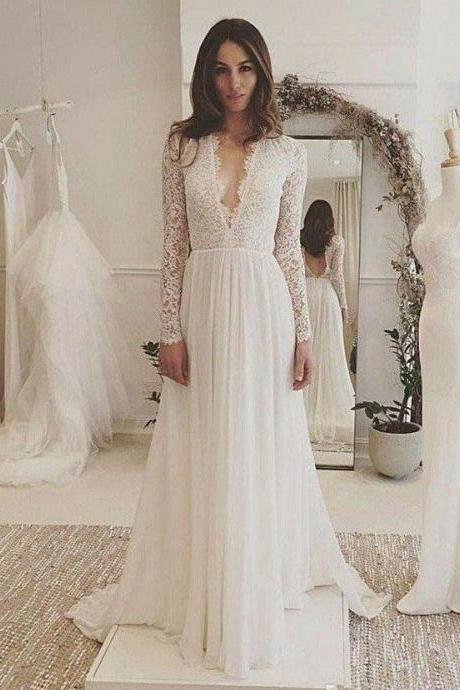 Long Sleeve Lace Top Beach Wedding Dresses V Neck Chiffon Wedding Dress