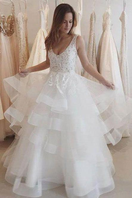 Lace Appliqued Ivory Organza Backless See-through Wedding Dresses