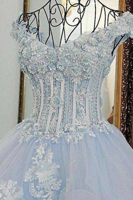 Ball Gown Off the shoulder Lace Appliqued Quinceanera Dresses