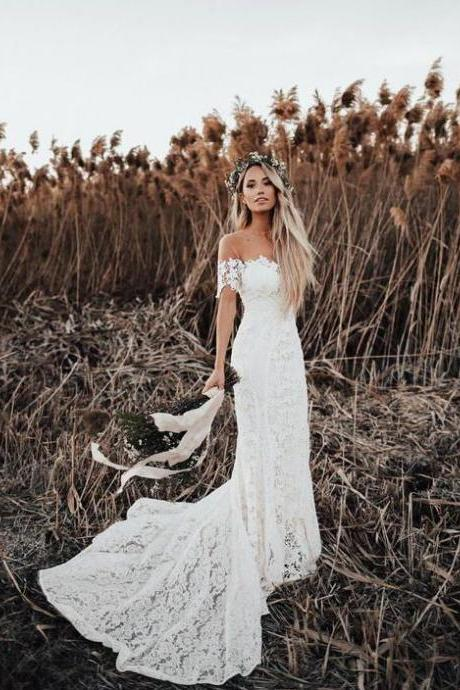 Ivory Mermaid Lace Rustic Wedding Dresses Illusion Neckline Beach Wedding Dress