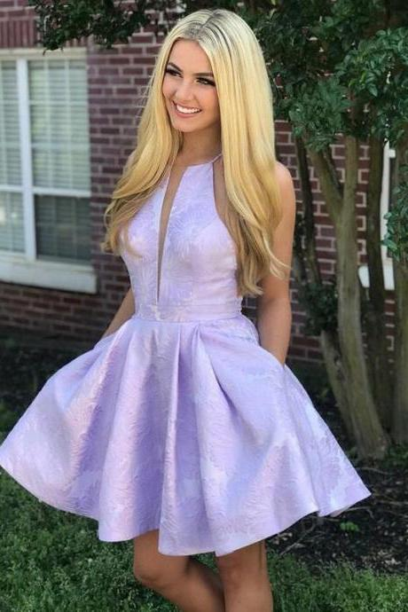 Lilac Jacquard Floral Homecoming Dresses with Pocket Halter Graduation Dress