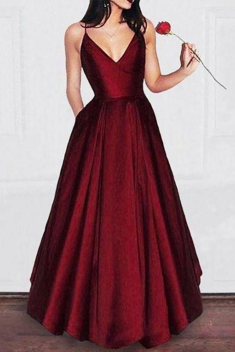 A-line V-neck Spaghetti Strap Burgundy Prom Dresses Long Formal Evening Ball Gowns