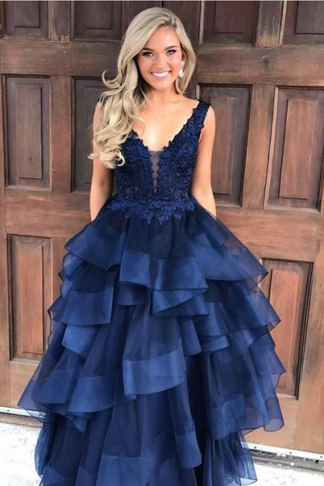 Navy Blue Lace Appliques Plunge V Sleeveless Floor Length Tulle Ruffled Ball Gown, Prom Gown