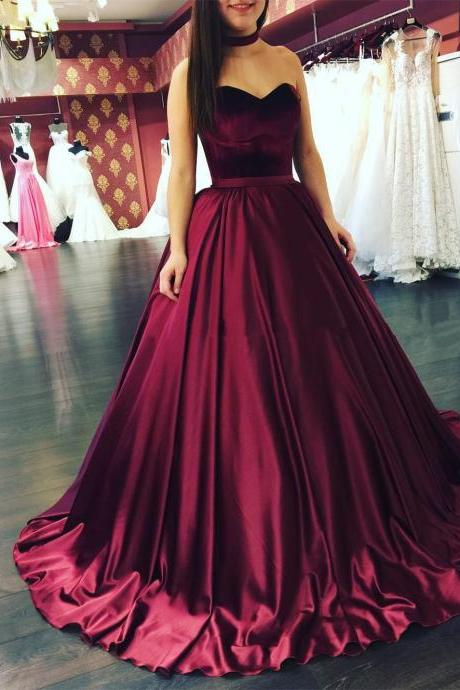 Burgundy Ball Gowns Wedding Dresses Sweetheart Dress 2017 Y