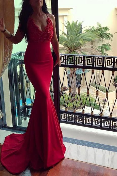 Red mermaid dress,v neck evening gowns,long prom dress,sexy prom dress,elegant prom dress lace appliques